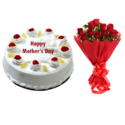 Eggless Mothers Day Pineapple Cake & Bouquet