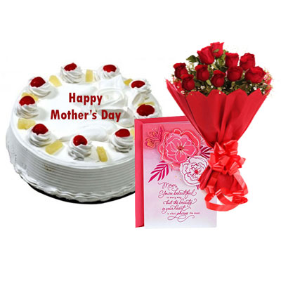 Eggless Mothers Day Pineapple Cake Bouquet & Card