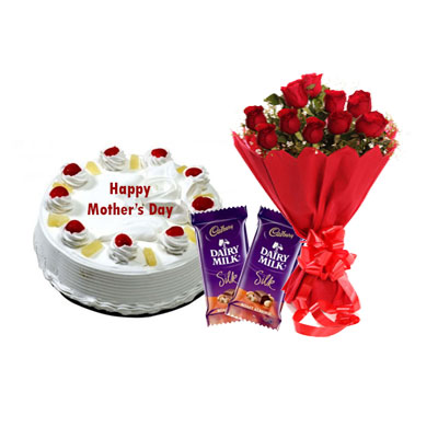 Eeggless Mothers Day Pineapple Cake, Bouquet & Silk