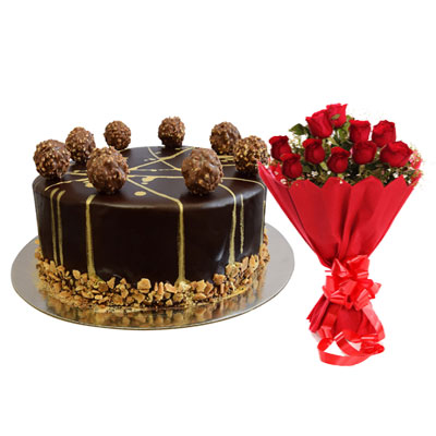 Ferrero Rocher Chocolate Cake & Bouquet