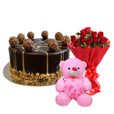 Ferrero Rocher Chocolate Cake, Bouquet & Teddy