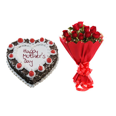 Heart Shape Black Forest Cake & Bouquet