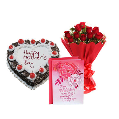 Heart Shape Black Forest Cake, Bouquet & Card