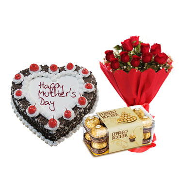 Heart Shape Black Forest Cake, Bouquet & Ferrero