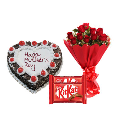 Heart Shape Black Forest Cake, Bouquet & Kitkat