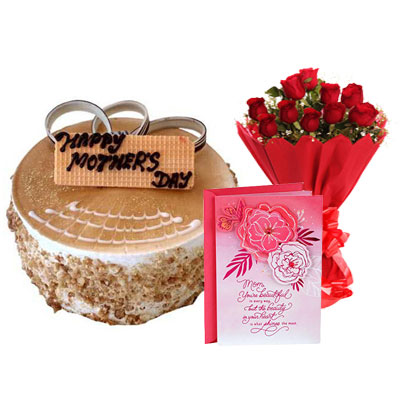 Mothers Day Butterscotch Cake, Bouquet & Card