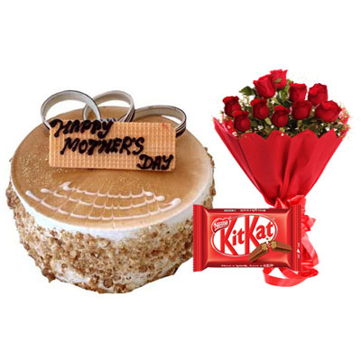 Mothers Day Butterscotch Cake, Bouquet & Kitkat
