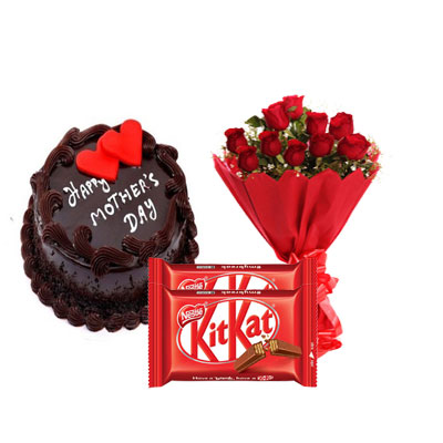 Mothers Day Chocolate Cake, Bouquet & Kitkat