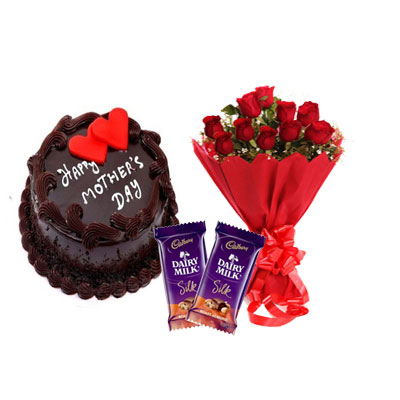 Mothers Day Chocolate Cake, Bouquet & Silk