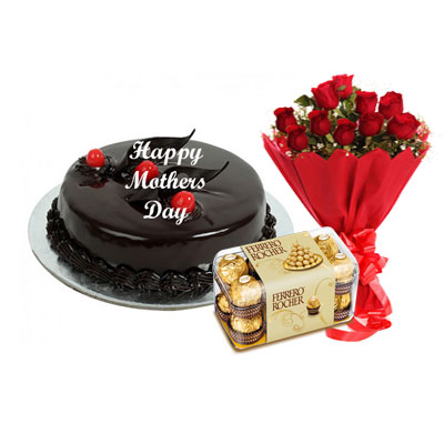 Mothers Day Chocolate Truffle Cake, Bouquet & Ferrero