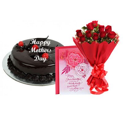 Mothers Day Chocolate Truffle Cake, Bouquet & Card