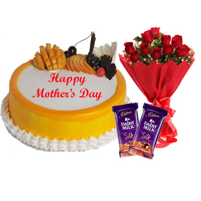 Mothers Day Mango Cake with Bouquet & Silk