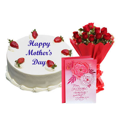 Mothers Day Vanilla Cake, Bouquet & Card