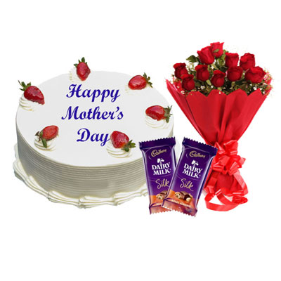 Mothers Day Vanilla Cake, Bouquet & Silk