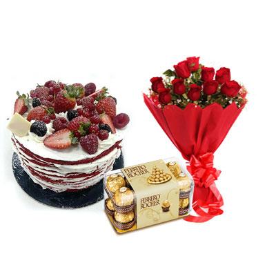 Red Velvet Fruit Cake, Bouquet & Ferrero