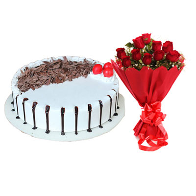 Snowy Black Forest Cake & Bouquet