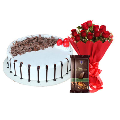 Snowy Black Forest Cake, Bouquet & Bournville