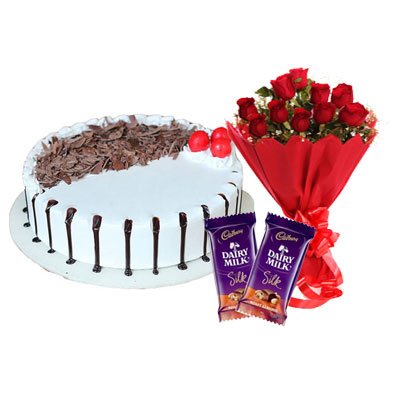 Snowy Black Forest Cake, Bouquet & Silk