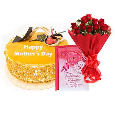 Mothers Day Butterscotch Cream Cake, Bouquet & Card
