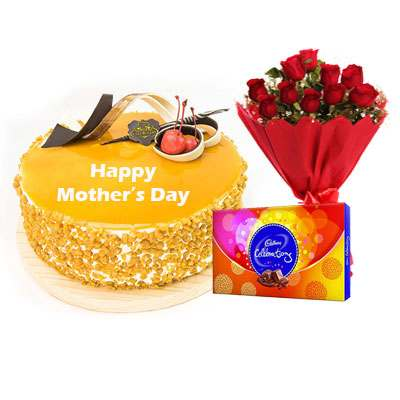 Mothers Day Butterscotch Cream Cake, Bouquet & Cadbury
