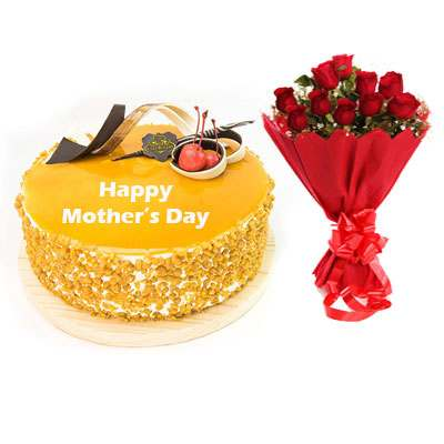 Mothers Day Butterscotch Cream Cake & Bouquet