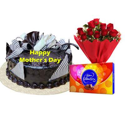Mothers Day Chocolate Cream Cake, Bouquet & Cadbury