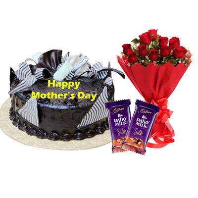Mothers Day Chocolate Cream Cake, Bouquet & Silk