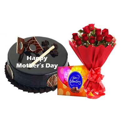 Mothers Day Chocolate Royal Cake, Bouquet & Cadbury