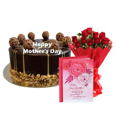 Mothers Day Ferrero Rocher Chocolate Cake, Bouquet & Card