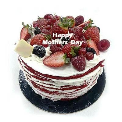 Mothers Day Red Velvet Fruit Cake