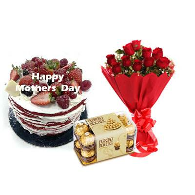 Mothers Day Red Velvet Fruit Cake, Bouquet & Ferrero