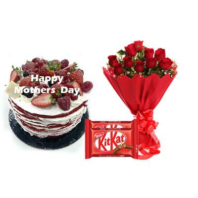 Mothers Day Red Velvet Fruit Cake, Bouquet & Kitkat