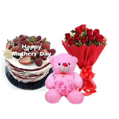 Mothers Day Red Velvet Fruit Cake, Bouquet & Teddy