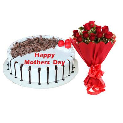 Mothers Day Snowy Black Forest Cake & Bouquet