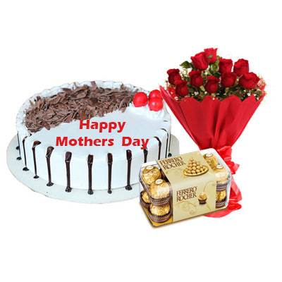 Mothers Day Snowy Black Forest Cake, Bouquet & Ferrero
