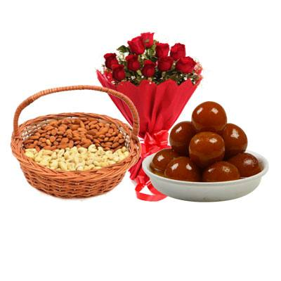 Almonds, Cashew, Gulab Jamun & Bouquet