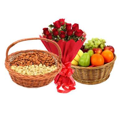 Almonds, Cashew, Mix Fruits Basket & Bouquet