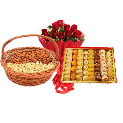 Almonds, Cashew, Mixed Sweets & Bouquet