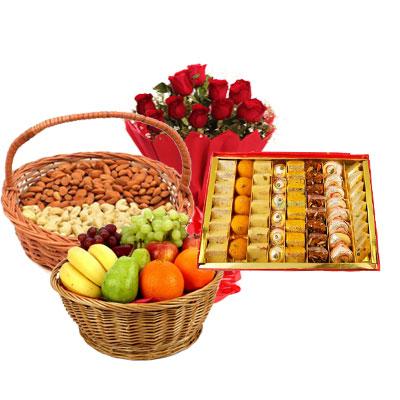 Almonds, Cashew, Mixed Sweets, Fruits & Bouquet