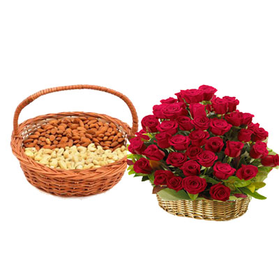 Almonds, Cashew & Roses Basket