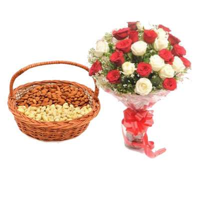 Almonds, Cashew With Red & White Roses