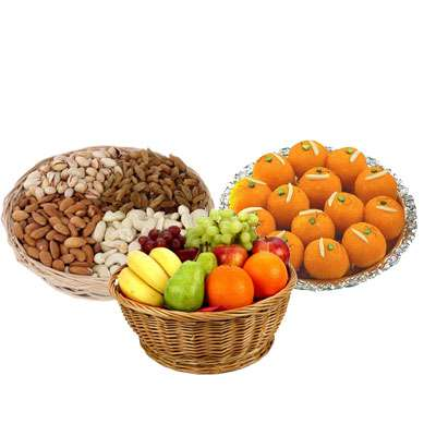 Mixed Dry Fruits, Fruit Basket & Laddu