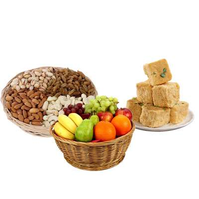 Mixed Dry Fruits, Fruit Basket & Soanpapri