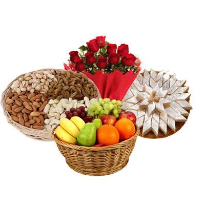 Mixed Dry Fruits, Fruit Basket, Bouquet & Katli