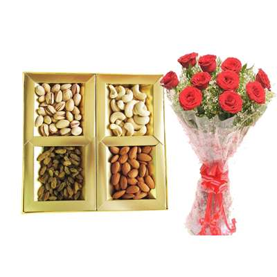 Mixed Dry Fruits & Red Rose Bouquet