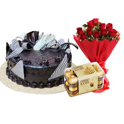 Chocolate Cream Cake, Bouquet & Ferrero