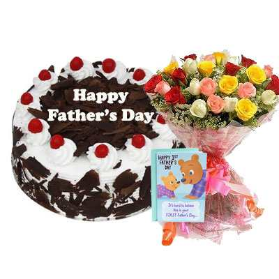 Fathers Day Black Forest Cake, Bouquet & Card