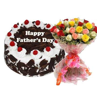 Fathers Day Black Forest Cake with Mix Bouquet
