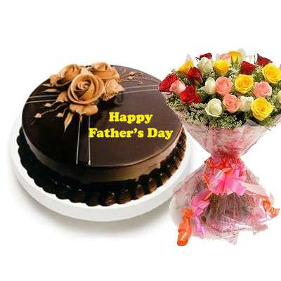 Fathers Day Chocolate Truffle Cake with Mix Bouquet