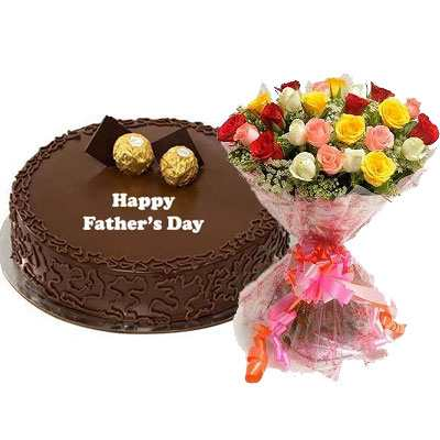 Fathers Day Ferrero Rocher Cake with Mix Bouquet
